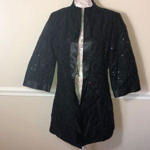 Chico's size 2 black sequin long dress blazer L